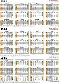 printable year calendar 2013 3 year calendar 2013 2014 2015 calendar 2 three year printable pdf