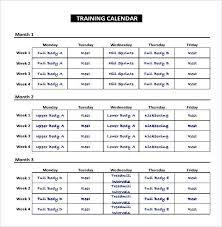 Running Training Calendar Template Schedule 8 Free Word Excel