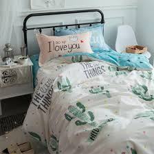 green pink cactus bedding set teen child kid twin full queen 100 cotton home textile flat sheet pillow cases quilt cover denim bedding bedroom