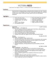 Server Resume Sample Free Resume Templates 2018