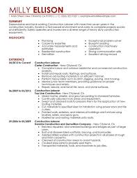 Example Of Construction Resume Unforgettable Construction Labor Resume Examples To Stand