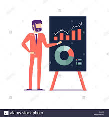 Businessman Presents A Report Using Infographics On The