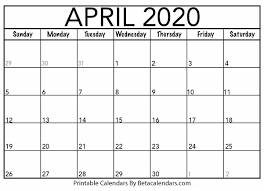Small Printable 2020 Calendar Blank April 2020 Calendar Printable Beta Calendars