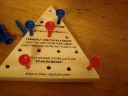 Wooden Triangle Peg Game How to win at jump all but one game YouTube 35