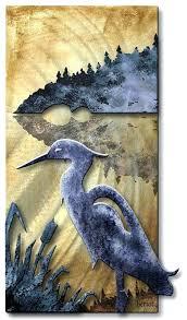 wall arts heron wall art blue metal elegant pets and animals wooden