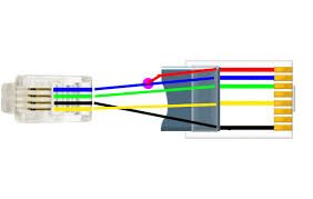 8p8c to 4p4c cabling telephone system installers tech pins 1 and 2 on the 8p8c share continuity pin for of the 4p4c but only the blue wire is in the 4p4c the purple circle represents that i spliced in