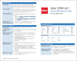 How To Make A Quick Reference Guide Infor Crm Quick Reference Card The Qgate Knowledgebase