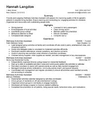 Best Wellness Activities Assistant Resume Example Livecareer
