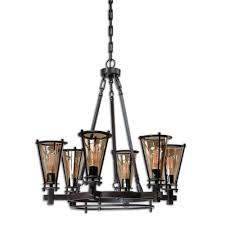 uttermost frisco rustic black six light metal chandelier