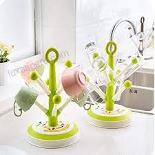 lovnely cup tree holder glass drying rack stand plastic green 6 hooks b0787z42m4