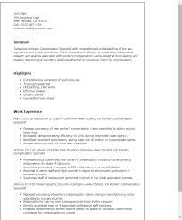professional workers compensation specialist templates to showcase your talent myperfectresume medical claims processor resume sample resume for loan processor