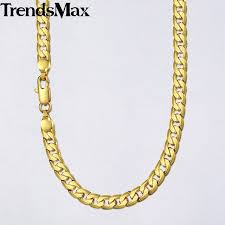 trendsmax 18 36 necklace for men women gold necklace cuban link chain men fashion