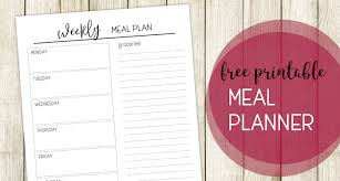 Free Printable Meal Plan Template Printable Meal Planning Template Paper Trail Design