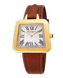 Bruno Magli 34mm Emma 1142 <b>Trapezoid</b> Leather Watch, Brown/Gold