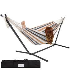 steel hammock stand. Interesting Hammock Amazoncom  Best Choice Products Double Hammock With Space Saving Steel  Stand Includes Portable Carrying Case Desert Stripe Garden U0026 Outdoor In