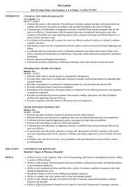Pharmacy Resume Examples Infusion Pharmacist Resume Samples Velvet Jobs 31