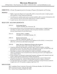 chronological resume sample project management resume templates for management positions