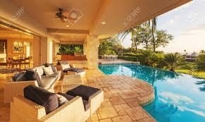 luxury home swimming pools. Delighful Luxury Beautiful Luxury Home With Swimming Pool At Sunset Stock Photo  42845648 On Pools 123RFcom