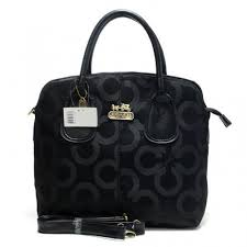 Coach Logo In Signature Medium Black Totes BMX
