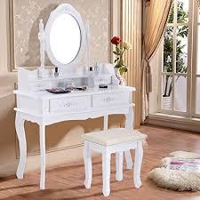 new white vanity jewelry makeup dressing table set w stool 4 drawer mirror wood desk