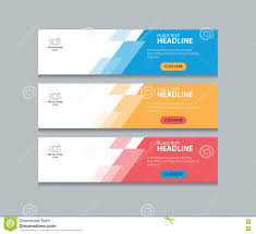 banner design template three color web banner design template background set stock vector