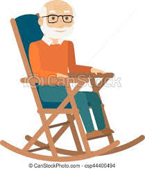 rocking chair drawing. Old Man Sitting In Rocking Chair. Vector. Chair Drawing
