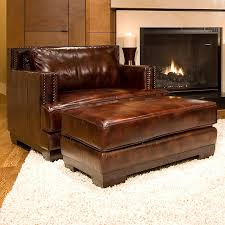 club chair and ottoman. Davis Leather Club Chair And Ottoman In Saddle Brown H