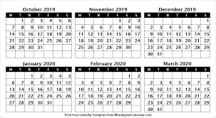 Editable Calendar March 2020 October 2019 To March 2020 Editable Calendar Editable Calendar