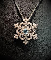 waterbury aquamarine diamond snowflake necklace 14k white gold