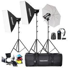 neewer 540w 180w x 3 studio flash strobe monolight umbrella softbox kit