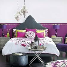 moroccan style bed view in gallery trendy bedroom with rich purple hue on a budget moroccan style