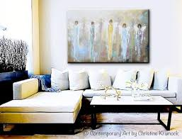 original abstract angels painting large art home decor