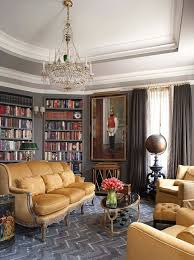 gorgeous bookshelf design for tidy room design vintage home library design with luxury crystal chandelier