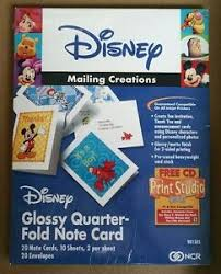 Quarter Cards Details About Disney Mailing Creations Glossy Quarter Fold Note Cards Envelopes Cd New