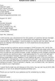 Cover Letter Examples Customer Service Manager