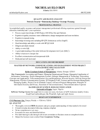 Resume For Quality Assurance Analyst Cover Letter Samples Cover