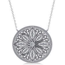 antique style flower diamond pendant necklace 14k white gold 0 77ct ad5139