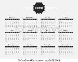2020 Calendario Disegno Orizzontale Anno Illustrazione Rivista