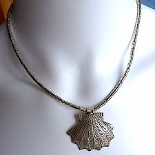 necklace silver shell pendant st jacques 82