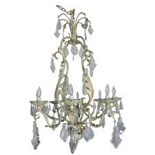 french wrought iron and crystal painted chandelier circa 1930