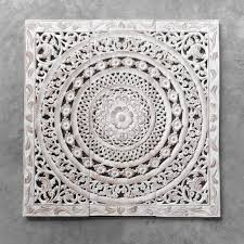 white wood carving wall decor
