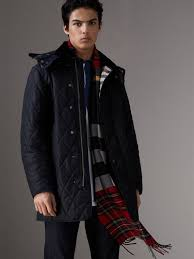 Quilted Jackets & Puffer Jackets for Men   Burberry United States & Detachable Hood Diamond Quilted Jacket in Navy Adamdwight.com