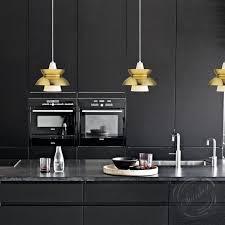 black kitchen lighting. Modern Black Kitchen Design With Pendant Lighting And Mid Century Style Aluminum Crystal Linear C
