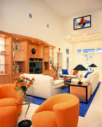 Orange Sofa Living Room Cool Living Space Focused On Orange Sofa Overlooking With Grey