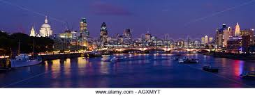 Panoramic view of the City of London and the river Thames, London, England.