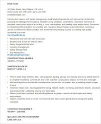 Sample Construction Worker Resume 9 Examples In Word Pdf