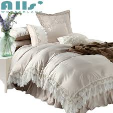 pcs champagne color bedding set queen size elegant lace polyes on luxury comforter sets king design