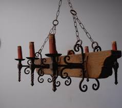 image of wooden wrought iron chandeliers