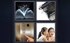 4 pics 1 word elevator button book kid girls whispering typewriter