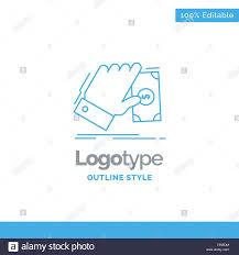 Earn Money By Designing Logos Blue Logo Design For Business Hand Money Earn Dollar